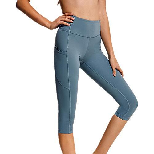 Damen Sport Leggins Hohe Taille Strumpfhose 3/4 Yogahose Blickdichte Kurz Laufhos Fitness Hosen Jogginghose mit Taschen Klassische Bauchkontrolle Mittlere Taille Laufhose Workout Sporthose für