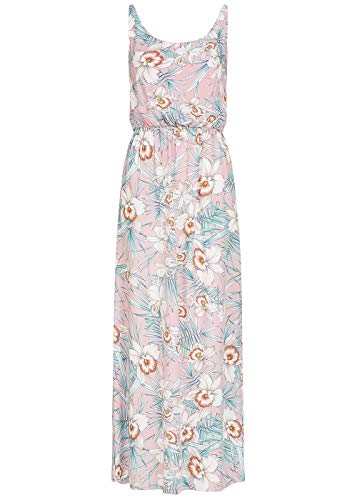 Seventyseven Lifestyle Damen Longform Kleid Blumen Print Spaghettiträger rosa Weiss, Gr:XXL