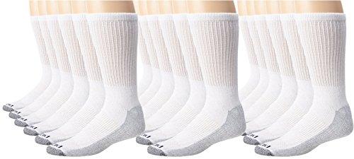 Dickies Men's Dri-Tech Comfort Crew Socks - Big & Tall, White, 18 Pair