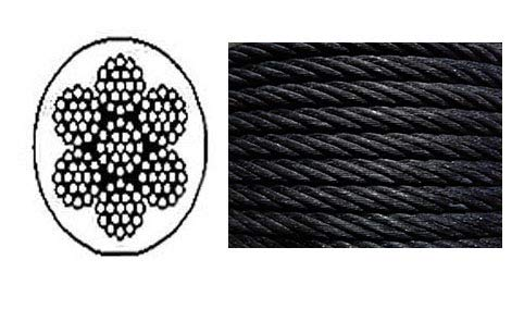 """Galvanized Wire Rope Cable 1//4/"""" 7x19 50 ft Coil"""