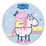Dekora - Decoracion Tartas de Cumpleaños Infantiles en Disco de Oblea de Peppa Pig - 20 cm