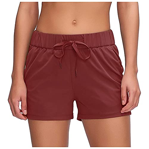 FMYONF Pantalones cortos deportivos de algodón transpirables para mujer, pantalones cortos deportivos y yoga, pantalones cortos deportivos para correr, Vino, XL