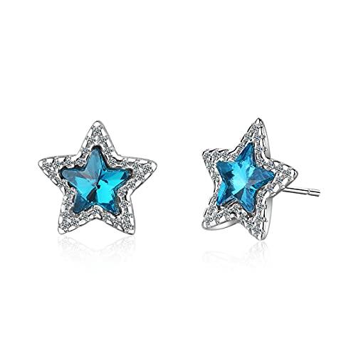 DFDLNL Pendientes MujerPendientes Estrella Cristal Azul Pendientes Mujer