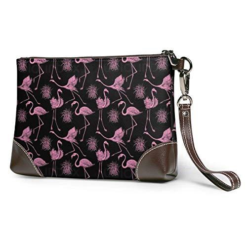 GLGFashion Sac à main en cuir pour femme Pink Flamingo Portable Travel Toiletry Bag Makeup Organizer Cosmetic Bag Pouch For Women Girl