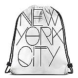 Bolsa de mochila con cordón OPLKJ, bolsa de gimnasio de la ciudad de Nueva York Bolsa de almacenamiento de mochila portátil para acampar senderismo nadar ir de compras ir de excursión playa