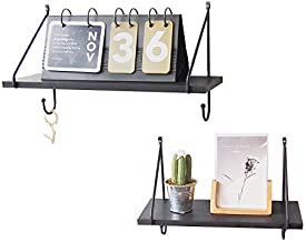 TFer Solid Wood Black Floating Shelves Wall Mounted Shelves Set of 2, Durable Metal Bracket Rustic Wall Shelf Decor Storage with 2 Hooks for Bedroom Bathroom Living Room Office Kitchen