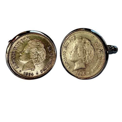 Gemelos para camisa: Genumis Rizos - Moneda 50 centimos peseta 1892 Es