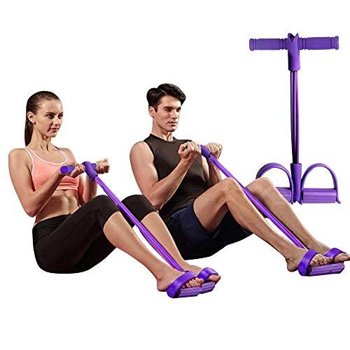 SOUFEEL Pedal Resistance Band Expander Fitnessband Sit Up Pull Seil Zugseil 4-Röhren Trainingsgerät für Arm Taille Beine Yoga Stretching Beintrainer Bauchtrainer Bodybuilding Schlankheitstraining 1pc