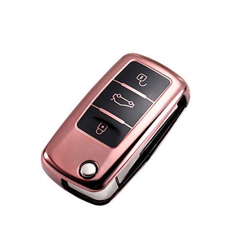 CONKOR Schlüsselhülle - TPU-Hülle für Autoschlüssel in Rosa, passend für VW, Skoda, Seat - Effektiver Schutz, Hochglanz Auto-Liebhaber - Auto-Zubehör (Rosa)