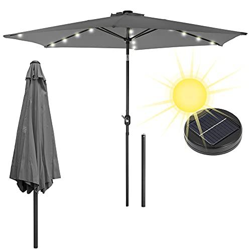 ECD Germany Alu Sonnenschirm Anthrazit Ø 300 cm Rund mit LED-Solar-Beleuchtung, Kurbel, wasserabweisend, UV-Schutz, neigbar, knickbar, Marktschirm Ampelschirm Gartenschirm Kurbelschirm Terrassenschirm