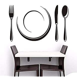 Kuamai Plate and Cutlery Set Wall Stickers Vinyl Removable Wall Decal Hollow Out Wallpaper Kitchen Decorative for Dining R