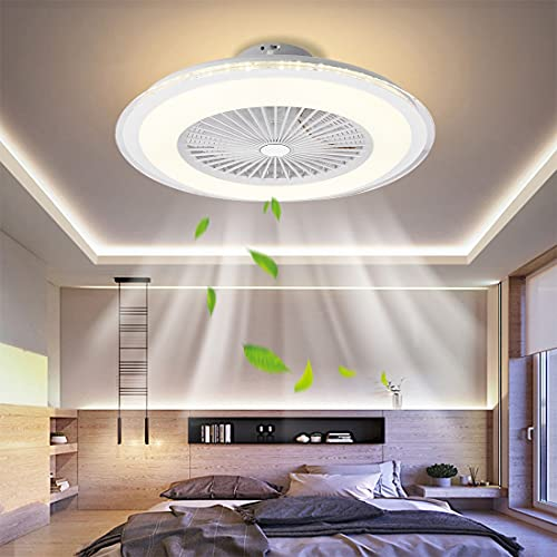 Ventilador de techo con luces para cuartos de baño de cocina interior, 24 '' White Modern Led Semi Flush Mount Sople Fandelier Fan de techo y control remoto, 5 cuchillas de acrílico (Color : White)