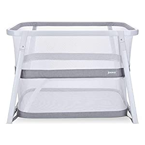 Joovy Coo Portable Bassinet, Portable Playpen, Rocks or Stays Put, White