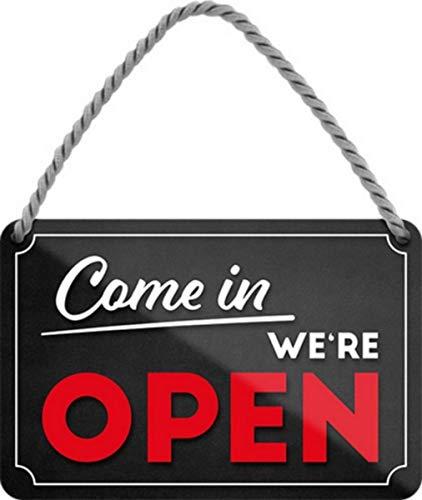 We re Open – Come in 28 x 12 cm butik butik dörr plåtskylt hänge HS567