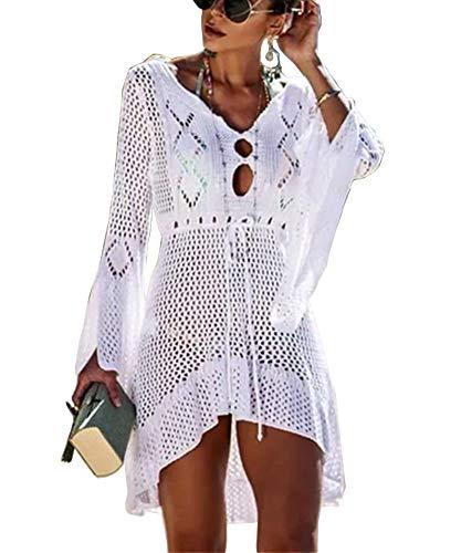 LNX Vestido de baño para mujer, de manga larga, acampanado, con cordón, dobladillo alto, bajo, bikini, para playa, para mujer