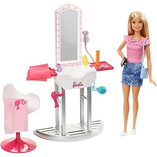 Barbie Bambola Bionda Salone di Bellezza, Giocattolo per Bambini 3+ Anni, FJB36