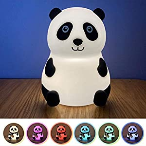 Panda Night Light,Soft Silicone Tap Touch 7 Colors Lamp for Boys and Girls,Eyes protecting LED Nursery Lamp,Cute Portable Decorative Bedside Lamp for kids, Birthday Christmas Gift for Panda Lovers