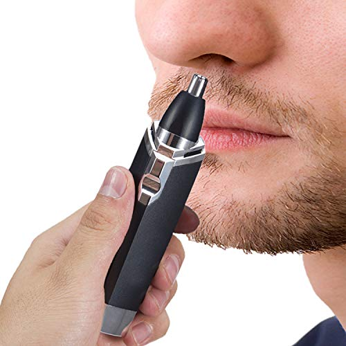 Ear and Nose Hair Trimmer Clipper - 2019 Professional Painless Eyebrow and Facial Hair Trimmer for Men and Women Aa Battery KM-6512 for Easy Cleansing (Black)