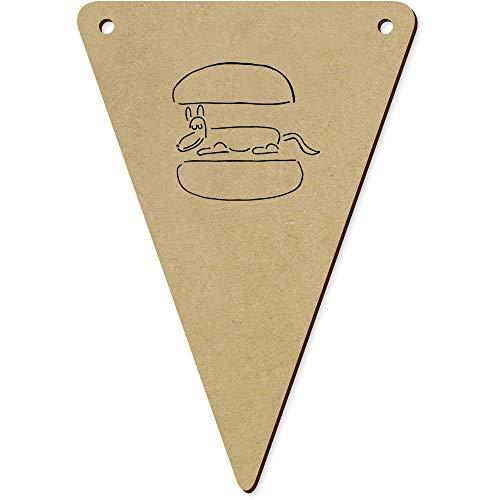 Azeeda 5 x 140mm 'Hot Dog' Wooden Bunting Flags (BN00065686)