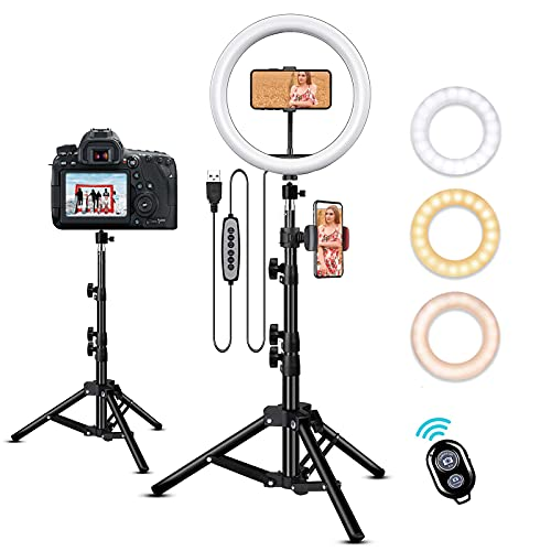 TIK Tok Tripod for iPhone Selfie Ring Light with Tripod Stand for YouTube Video/Photography/Makeup/Live Stream Compatible with iPhone & Android… (Black)