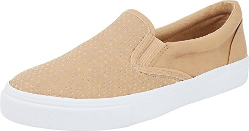 Soda IF14 Women's Perforated Slip On Elastic Panel Athletic Fashion Sneaker, Color:Camel PU, Size:5.5