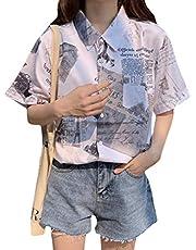 [ShuMing]レディース シャツ ブラウス 半袖 アロハシャツ ゆったり 韓国 トップス 五分袖 プリント柄 ファッション 夏 ハワイシャツ ビーチ リゾート