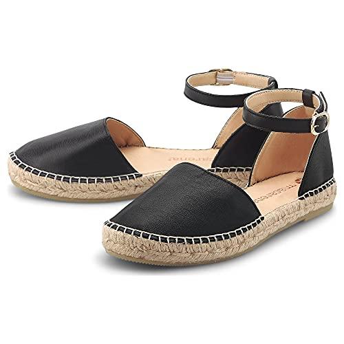 Macarena Damen Espadrilles-Sandale MAR 1110 Schwarz Leder 37