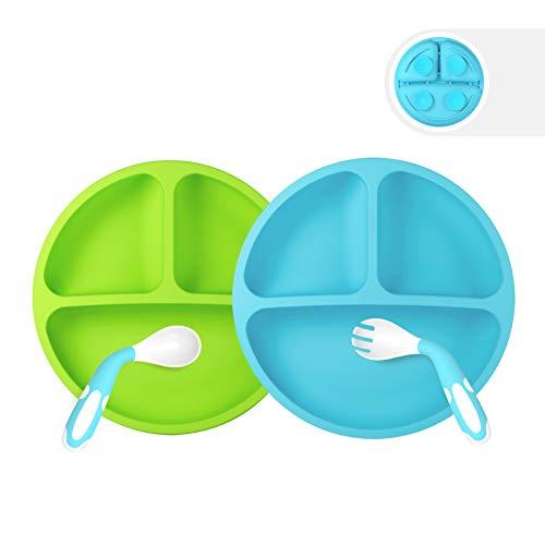 Baby Teller,Silikon Rutschfester Baby Tischset für Baby Kleinkind und Kinder,Kinderteller mit Saugnapf Kinder Tischset (Verdant)
