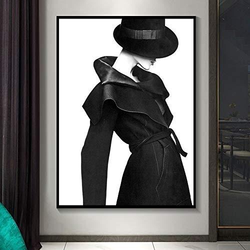 Schwarze und weiße sexy Frau Leinwand Malerei moderne Wandkunst nordische Poster und Druckbild von Wohnzimmer zu Hause rahmenlose dekorative Malerei A12 60x80cm
