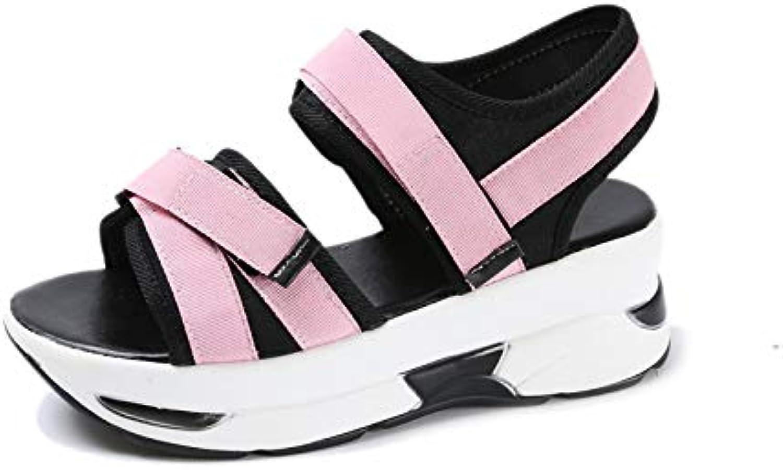 DNJKSA Waterproof Platform Thick-Soled Sandals Summer 2019 New Korean Version Flat-Soled Middle-Heel Muffin for Female Students