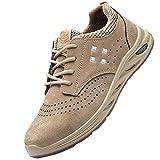 Zapatillas de Industria y construcción para,Ligeras con Puntera de Acero Zapatos de Trabajo Zapatillas de Seguridad Antideslizante Unisex,Light Brown 1▁39