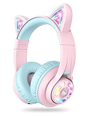 iClever BTH13 Kids Headphones, Cat Ear LED Light Up Kids Wireless Headphones with Volume Limited (74/85/94dB), 45H Playtime, Children Headphones with Microphone Over Ear for School/Tablet/PC, Pink by iClever