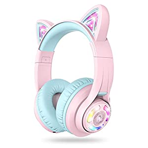 iClever Cat Ear Bluetooth Headphones RGB LED Light Up Over Ear with Microphone, 74/85/94dB Volume Limiting Comfort…