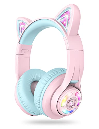 iClever Cat Ear Bluetooth Headphones RGB LED Light Up Over Ear with Microphone, 74/85/94dB Volume Limiting Comfort Foldable Wireless Headset for PC/Tablet/TV Kids Girls & Boys Teens, BTH13 Pink