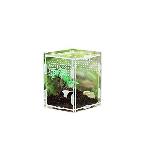 daiyanjing Reptile Acrylic Terrarium, Insects Terrarium High Transparent Magnetic Pet Climbing Terrarium,arboreal Box, 360 Degree High Transparency, Round Hole Magnetic Type