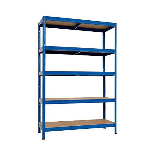 7H SEVEN HOUSE Estantería Modular Acero Galvanizado Azul con 5 Baldas Ajustables | 7house | Estantería Galvanizada de Almacenaje Uso Doméstico y Profesional | 180x120x60cm 1250Kg