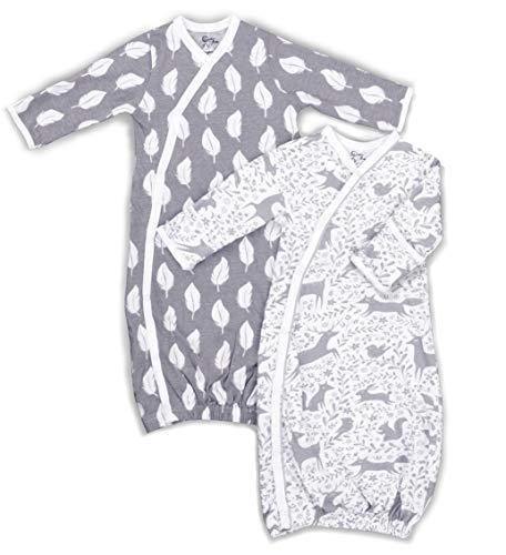 Kimono de algodón 100% orgánico para niños o niñas, fácil Cambio de broches y Manoplas integradas, Plumas y Animales del Bosque - Multicolor - 3-6 Meses