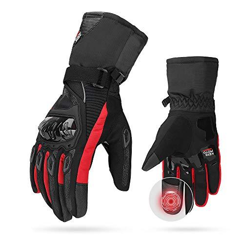 Motorrad Handschuhe Winter, CE 2KP geprüfte Motorradhandschuhe Touch Screen Handschuhe Wasserdicht Winddicht Handschuhe ( L,Rot)