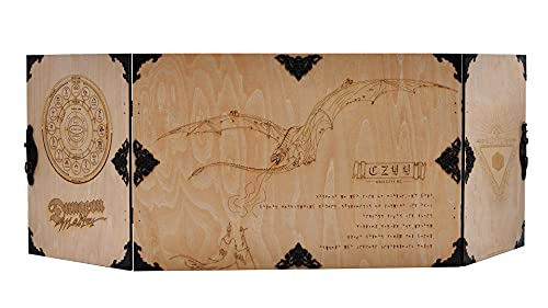 Wood Dungeon Master's DM Screen DIY Assemble Laser Carved Dragon and Flamel Cross Decorated with Antique Bronze Rivets 3-Panel with Metal Clips - D&D, Tabletop RPG Accessory for Game Master