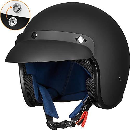 ILM 3/4 Open Face Half Motorcycle Helmet DOT Approved Retro Casco Fit Men Women ATV Moped Scooter Cruiser (Matte Black, L)