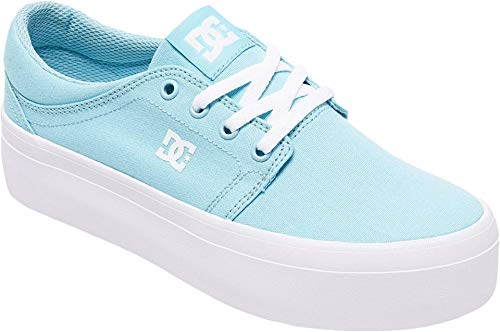 DC Women's Trase Platform TX Skate Shoe, Light Blue, 10.5B M US