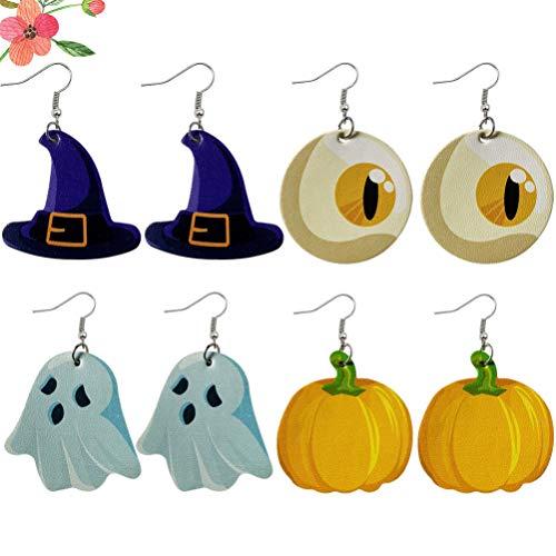 KESYOO 4 Paar / 8 Stück Halloween Ohrringe Kürbis Hexenhut Geist Baumeln Ohrringe Leder Ohrentropfen Druck Anhänger Ohrringe Pu Ohr Schmuck Geschenke für Frauen Party Gunst (Bunt)