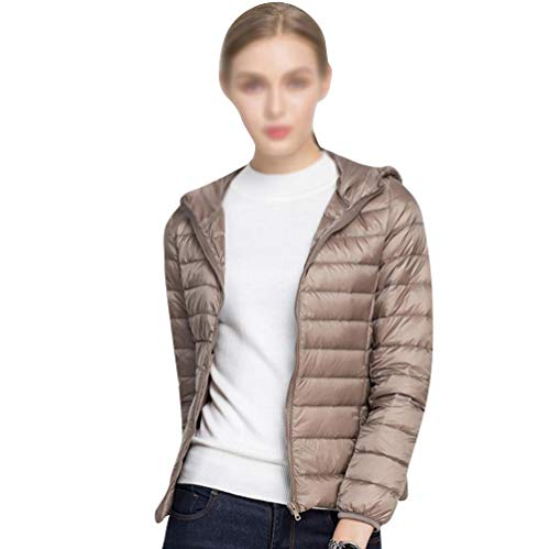 GUOCU Damen Leichte Daunenjacke Mit Kapuze Ultraleicht Steppjacke übergangs Jacke in Winter Khaki S