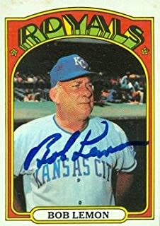 Autograph Warehouse 97619 Bob Lemon Autographed Baseball Card Kansas City Royals 1972 Topps No. 449
