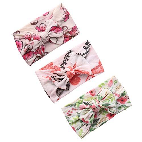 COUXILY 3 Stück Baby Mädchen Stirnband Blumen Baumwolle Haarband mit Bogen für 0-24 Monaten (E05)