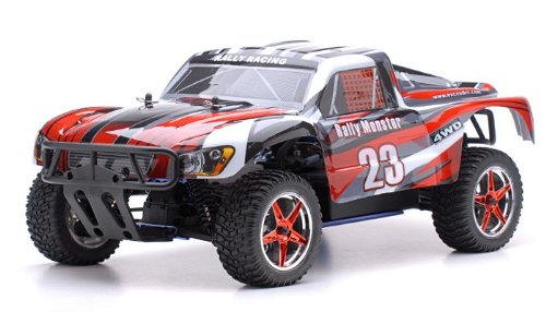 Exceed-RC 1/10 2.4Ghz Short Course Monster Nitro Gas Powered RTR Off Road 4WD Truck Stripe Red