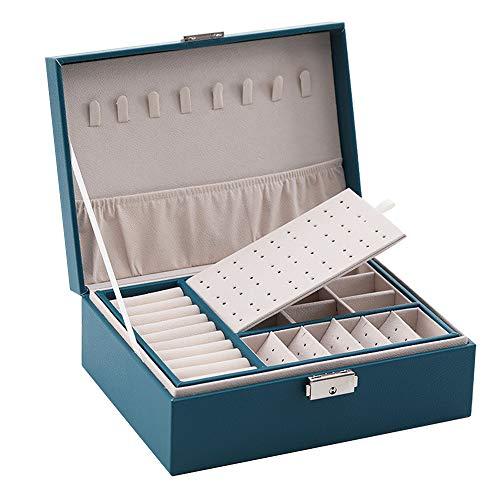 Anyutai Joyero organizador para mujeres y niñas, 2 capas, caja de almacenamiento de joyas de poliuretano con compartimento extraíble para collares, pendientes, anillos, pulseras