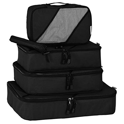 Travel Packing Cubes by milepro: 4 Piece Travel Packing Cube Set Includes Four Durable Luggage Organizers plus Laundry/Shoe Bag  Black