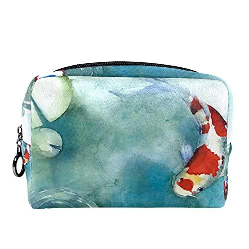 Makeup Tasche Tragbare Reisekosmetiktaschen, Fisch Japanisches Symbol im Teich