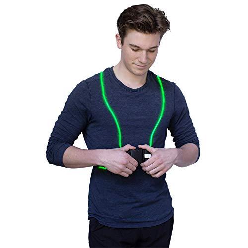 Running Light Vest LED Running Vest-IllumiVest-Flexible Fiber Optic Cable- Battery Powered Adjustable Gear for Runners, Led Vest with Reflective Belt-lighted Running Vests, Running Vest with Lights